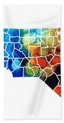 North Carolina - Colorful Wall Map By Sharon Cummings Beach Towel