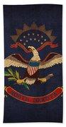 North Dakota State Flag Art On Worn Canvas Beach Towel