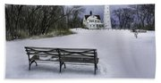 North Point Lighthouse And Bench Beach Towel