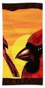 Northern Cardinals At Sunrise Beach Towel