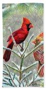 Northern Cardinals Beach Towel