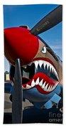 Nose Art On A Curtiss P-40e Warhawk Beach Towel