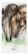 Nose To Nose Watercolor Painting Beach Towel