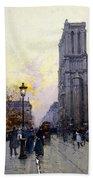 Notre Dame De Paris Beach Towel by Eugene Galien-Laloue
