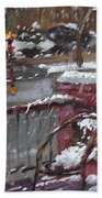 First Snowfall Nov 17 2014 Beach Towel