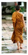 Novice Monk Of Chedi Luang Beach Towel