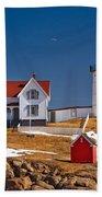 Nubble Lighthouse 3 Beach Towel by Joann Vitali