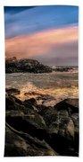 Nubble Lighthouse Winter Solstice Sunset Beach Towel