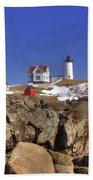Nubble's Rocky Coastline Beach Towel by Joann Vitali