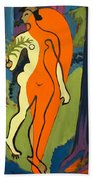 Nude In Orange And Yellow Beach Towel