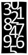 Numbers In Black And White Beach Towel