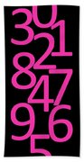 Numbers In Pink And Black Beach Towel