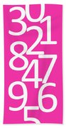 Numbers In Pink And White Beach Towel