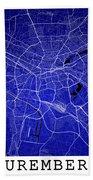 Nuremberg Street Map - Nuremberg Germany Road Map Art On Colored Beach Towel