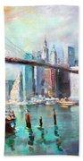 Ny City Brooklyn Bridge II Beach Sheet