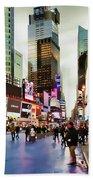 Ny Times Square Impressions I Beach Towel