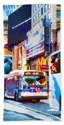 Ny Times Square Impressions Iv Beach Towel