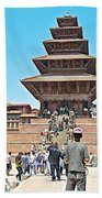 Nyatapola-tallest Pagoda In Nepal-in  Beach Towel