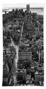 Nyc Downtown - Black And White Beach Towel