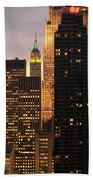 Nyc Midtown Golden Lights Beach Towel