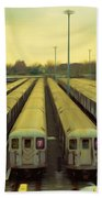 Nyc Subway Cars Beach Towel