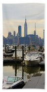 Nyc View From Lincoln Harbor Weehawkin Nj Beach Towel