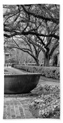 Oak Alley Plantation Landscape In Bw Beach Towel