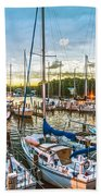 Oak Pt Harbor At Sundown Beach Towel