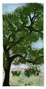 Oak Tree Landscape Beach Towel