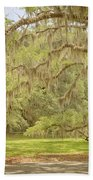 Oak Trees Draped With Spanish Moss Beach Towel