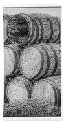 Oak Wine Barrels Black And White Beach Towel