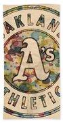 Oakland Athletics Poster Vintage Beach Towel