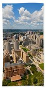 Oakland Pitt Campus With City Of Pittsburgh In The Distance Beach Towel