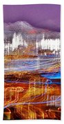Ocean City By Night - Abstract Purple Beach Towel