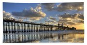 Oceanside Pier Sunset Reflection Beach Towel