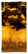 Ochre Wall Silk Lantern 01 Beach Towel
