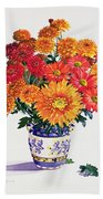 October Chrysanthemums Beach Towel