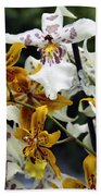 Gold And White Orchids Beach Towel