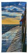 October Sunset At St. Joseph Lighthouse - Simulated Oil  Beach Towel