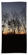October Sunset Trees Silhouettes Beach Towel