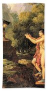 Oedipus And The Sphinx Beach Towel