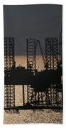 Offshore Drill Rig Platform Beach Towel
