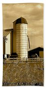 Ohio Farm In Sepia Beach Towel by Frozen in Time Fine Art Photography