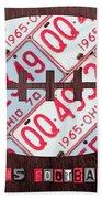 Ohio State Buckeyes Football Recycled License Plate Art Beach Towel