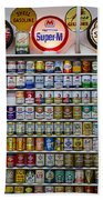 Oil Cans And Gas Signs Beach Towel by Garry Gay