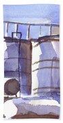 Oil Depot In April Beach Towel