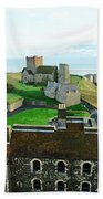 Oil Painting - Aerial View Of Dover Castle Beach Towel