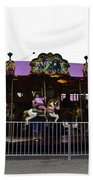 Oil Painting - Children And Adults At The Merry Go Round Inside The Blair Drumm Beach Towel