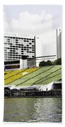 Oil Painting - Floating Platform In The Marina Bay Area In Singapore Beach Towel