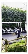 Oil Painting - Stationary Battery Powered Tourist Transport Vehicle Inside The Jurong Bird Park Beach Towel